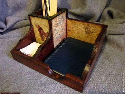 """Карандашницы ручной работы. Ярмарка Мастеров - ручная работа. Купить карандашница """"органайзер"""". Handmade. Карандашница, письменный набор, коричневый, на стол"""