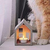 Подсвечники ручной работы. Ярмарка Мастеров - ручная работа Бетонный подсвечник Домик с двумя свечами в комплекте. Handmade.