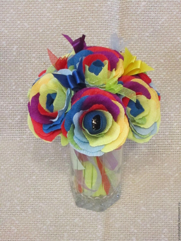 Букет невесты радужные розы цветов для