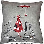 Для дома и интерьера ручной работы. Ярмарка Мастеров - ручная работа Подушка Влюблённые коты. Handmade.