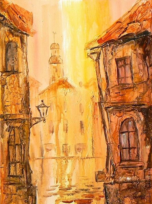 Город ручной работы. Ярмарка Мастеров - ручная работа. Купить Старая Riga. Handmade. Оранжевый, объемная живопись, акрил