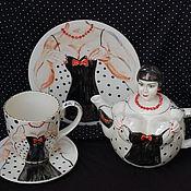 """Посуда ручной работы. Ярмарка Мастеров - ручная работа """"Маленькое чёрное платье"""".Чайный сервиз.. Handmade."""