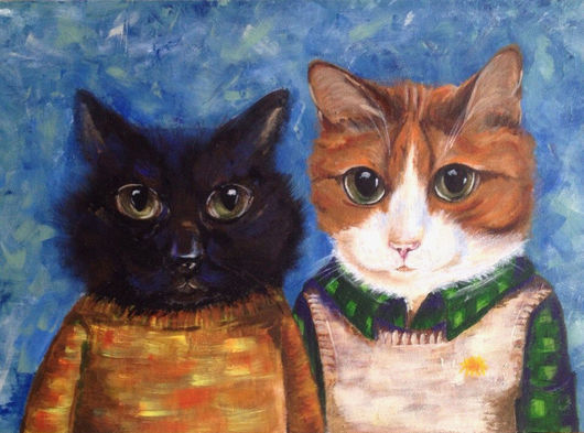 Животные ручной работы. Ярмарка Мастеров - ручная работа. Купить Дымок и Одуванчик. Handmade. Тёмно-бирюзовый, коты, портрет