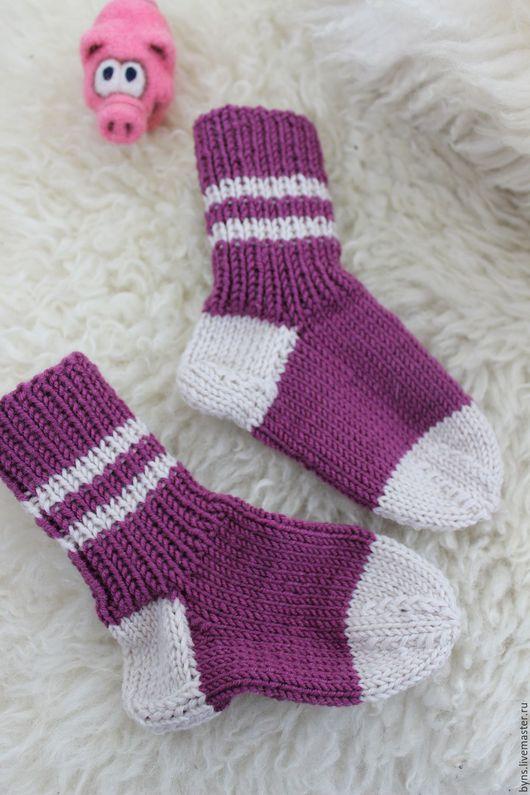 Носки, Чулки ручной работы. Ярмарка Мастеров - ручная работа. Купить Носочки. Handmade. Комбинированный, вязаные носки, белый, осень