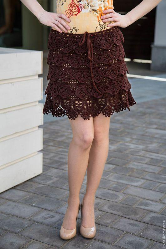 Юбки ручной работы. Ярмарка Мастеров - ручная работа. Купить юбка вязаная с оборками Восторг. Handmade. Коричневый, ажурный узор