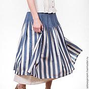 Одежда ручной работы. Ярмарка Мастеров - ручная работа Полосатая юбка бохо из дикого шелка. Handmade.