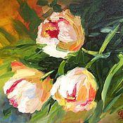 """Картины и панно ручной работы. Ярмарка Мастеров - ручная работа Картина маслом """"Тюльпаны"""". Handmade."""