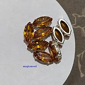 handmade. Livemaster - original item 1 piece Czech rhinestone 15h7mm Topaz Navette Czech crystals in DACs. Handmade.