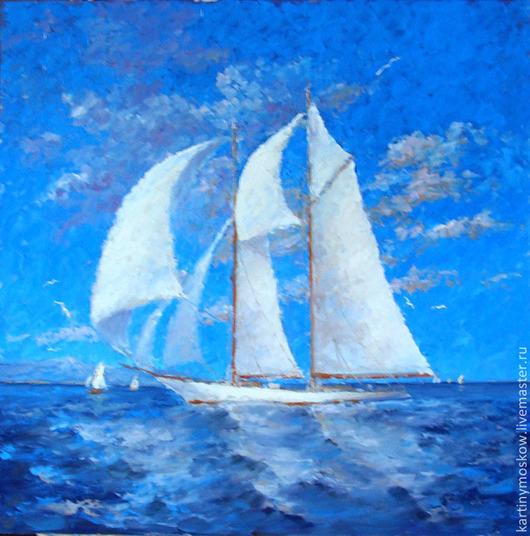 """Пейзаж ручной работы. Ярмарка Мастеров - ручная работа. Купить Картина маслом """"На всех парусах в море"""" (пейзаж 50на50см). Handmade."""