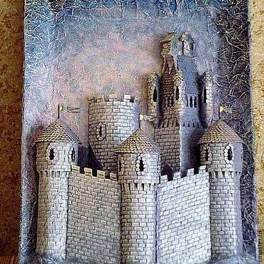 Картины и панно ручной работы. Ярмарка Мастеров - ручная работа Объемное панно Замок утренней зари. Handmade.