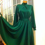Одежда ручной работы. Ярмарка Мастеров - ручная работа Трикотажное платье миди Изумруд 2. Handmade.