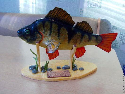 """Подарки для мужчин, ручной работы. Ярмарка Мастеров - ручная работа. Купить рыбка из папье - маше """"Трофейный Окунь"""". Handmade. Зеленый"""