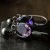 Украшения handmade. Livemaster - original item Sterling silver earrings with natural stones - amethyst. Handmade.