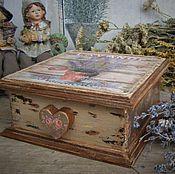 """Для дома и интерьера ручной работы. Ярмарка Мастеров - ручная работа Шкатулка"""" Винтажная лаванда"""". Handmade."""