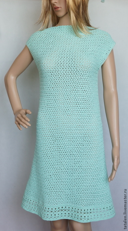 """Платья ручной работы. Ярмарка Мастеров - ручная работа. Купить Платье """"Mint Tea"""". Handmade. Мятный, платье летнее вязаное"""