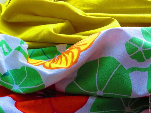 """Текстиль, ковры ручной работы. Ярмарка Мастеров - ручная работа. Купить Льняное постельное белье """"Настурция"""". Handmade. Комбинированный, стильный"""