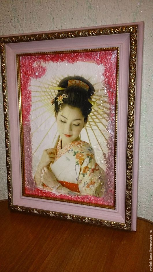 """Люди, ручной работы. Ярмарка Мастеров - ручная работа. Купить Картина-фреска """"Гейша"""". Handmade. Розовый, картина на заказ"""