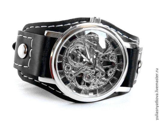 Часы ручной работы. Ярмарка Мастеров - ручная работа. Купить Часы Скелетоны на кожаном браслете.. Handmade. Черный, браслет для часов