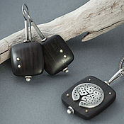 Украшения handmade. Livemaster - original item Earrings in ebony and silver with brass balls. Handmade.