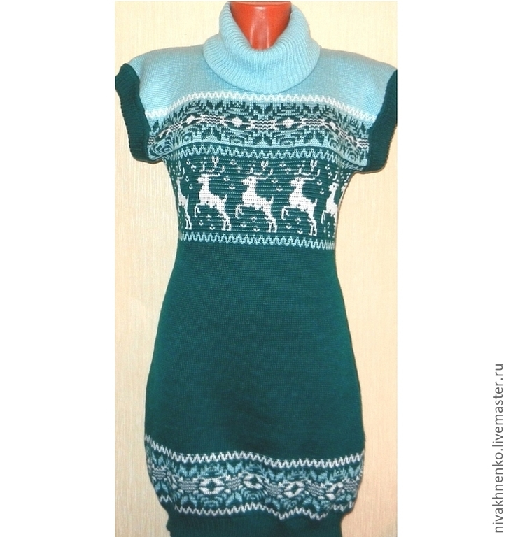 Tunic knit with a Norwegian ornament Emerald, Dresses, Moscow,  Фото №1