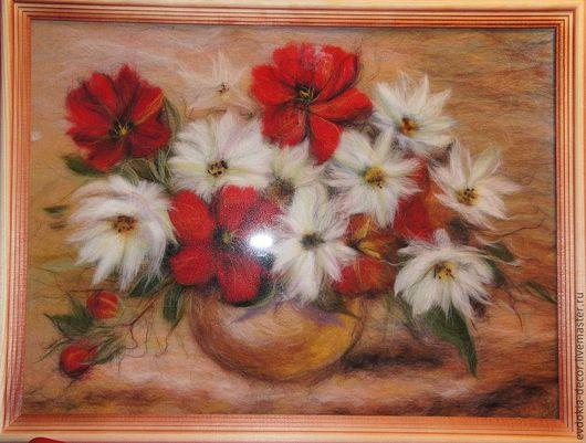 Картины цветов ручной работы. Ярмарка Мастеров - ручная работа. Купить картина из шерсти.цветы. Handmade. Картина для интерьера