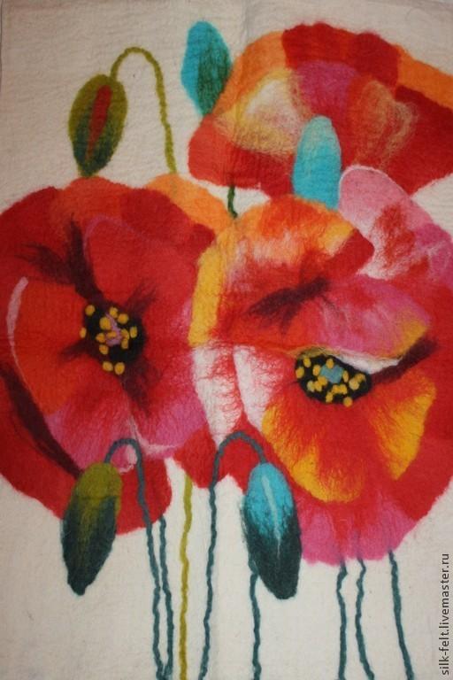 """Картины цветов ручной работы. Ярмарка Мастеров - ручная работа. Купить панно """"Маки"""". Handmade. Белый, панно, панно на стену"""
