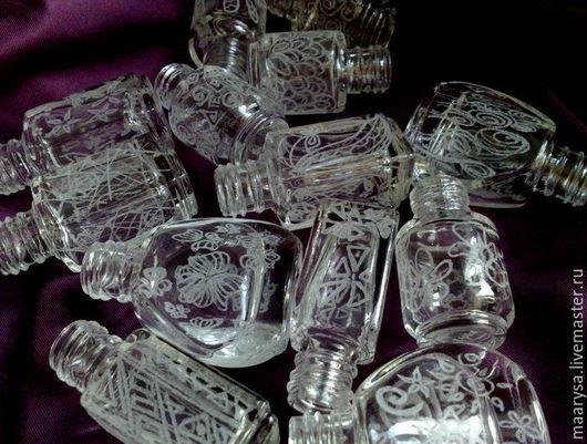 флакончики украшенные ручной гравировкой объемом до 6мл  расписной флакон