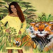 Платья ручной работы. Ярмарка Мастеров - ручная работа Жёлтое вязаное женское нарядное платье с ручной вышивкой. Handmade.