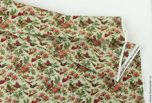 """Шитье ручной работы. Ярмарка Мастеров - ручная работа. Купить Ткань """"Птицы и бабочки"""". Handmade. Ткани, ткани для творчества, хлопок"""