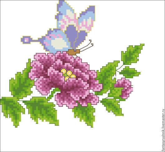 """Вышивка ручной работы. Ярмарка Мастеров - ручная работа. Купить Дизайн машинной вышивки """"Бабочка на цветке"""", формат EXP,ART. Handmade."""