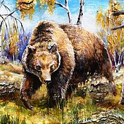 """Медведь"" картина на бересте подарок охотнику"