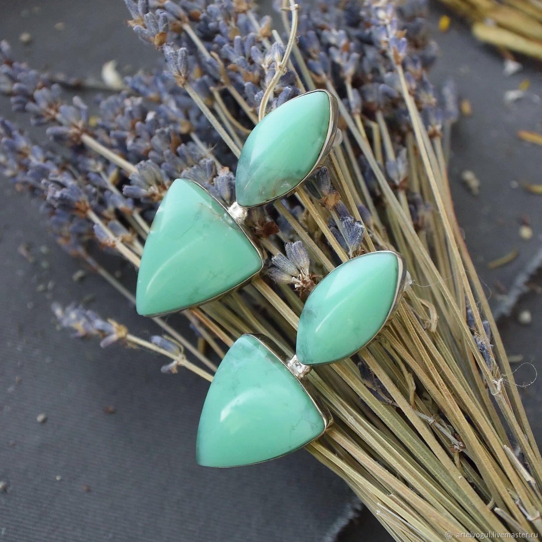 Earrings - ear-stud with a chrysoprase 'Summer mood', Stud earrings, Nizhnij Tagil,  Фото №1