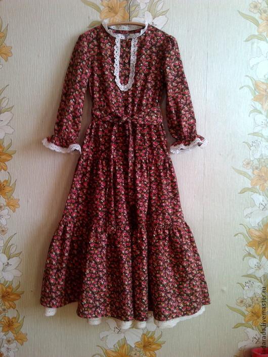 Для мужчин, ручной работы. Ярмарка Мастеров - ручная работа. Купить Платье детское из хлопчатобумажной ткани. Handmade. Коричневый