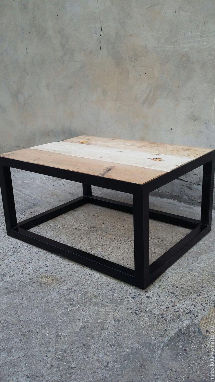 журнальный стол из амбарной доски в стиле лофт купить в интернет