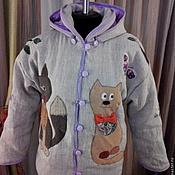 """Одежда ручной работы. Ярмарка Мастеров - ручная работа Эко-куртка из льна """" Кошки-2"""". Handmade."""