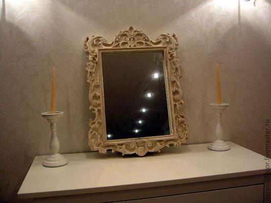 Зеркала ручной работы. Ярмарка Мастеров - ручная работа. Купить Винтажное зеркало в деревянной раме. Цвета слоновой кости.. Handmade.