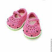 Работы для детей, handmade. Livemaster - original item Watermelon booties knitted gift for newborn girl. Handmade.