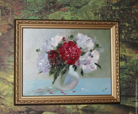Картины цветов ручной работы. Ярмарка Мастеров - ручная работа. Купить Пионы. Handmade. Букет цветов, пионы