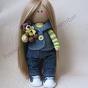 """Тыквоголовка ручной работы. Ярмарка Мастеров - ручная работа """"Джинсовая куколка"""" Текстильная кукла. Handmade."""