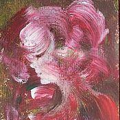 Картины и панно ручной работы. Ярмарка Мастеров - ручная работа Картина акрилом Нежный профиль девушки. Handmade.