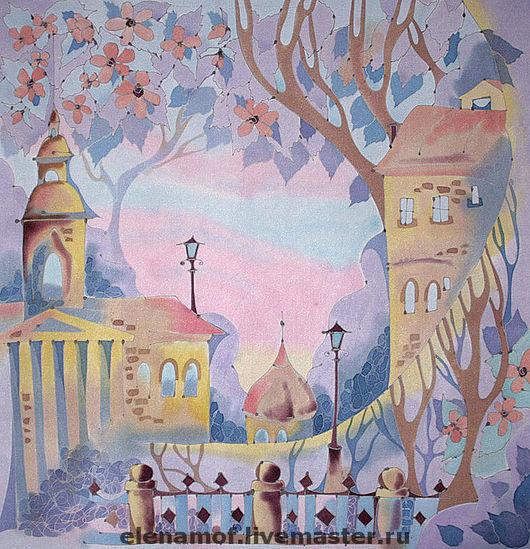Шали, палантины ручной работы. Ярмарка Мастеров - ручная работа. Купить Платок Город в цветах. Handmade. Шелковый платок
