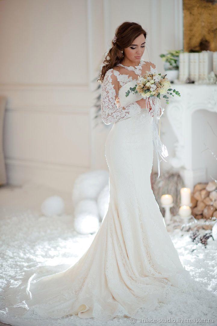 Свадебное платье молочное французское кружево, Платья, Москва,  Фото №1