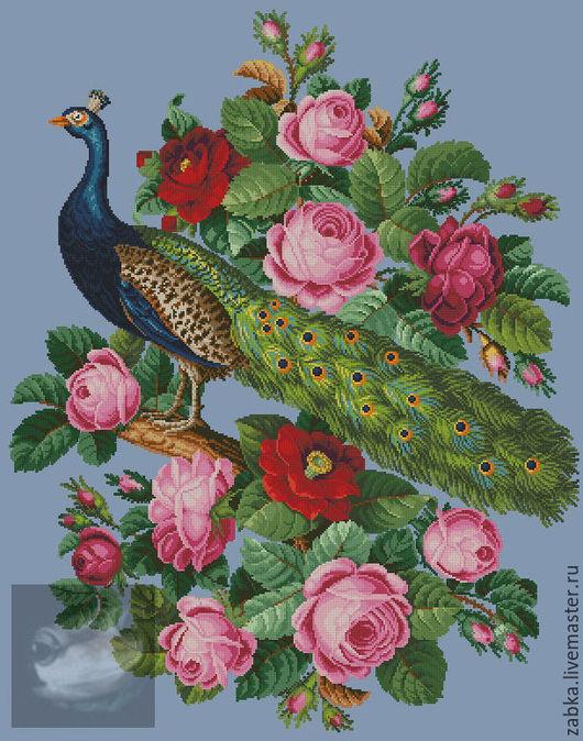 Вышивка ручной работы. Ярмарка Мастеров - ручная работа. Купить Павлин с розами и камелиями (схема для вышивки). Handmade. Комбинированный