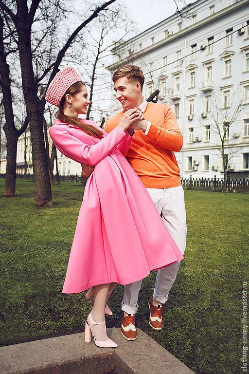 Верхняя одежда ручной работы. Ярмарка Мастеров - ручная работа. Купить Розовое пальто. Handmade. Розовый, pink, хлопок с шёлком
