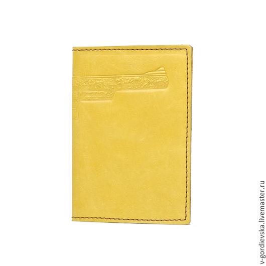 Обложки ручной работы. Ярмарка Мастеров - ручная работа. Купить Обложка для документов Shooter, желтая. Handmade. Желтый, кожаная обложка