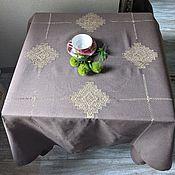 Для дома и интерьера handmade. Livemaster - original item Tablecloth linen 147/147 coffee with milk 4 Cubans (napkins optional. Handmade.