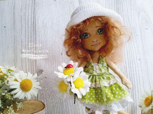 Коллекционные куклы ручной работы. Ярмарка Мастеров - ручная работа. Купить Текстильная кукла ручной работы Ромашка. Handmade. Зеленый