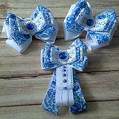 Работы для детей, handmade. Livemaster - original item Set of bows and bow-brooch