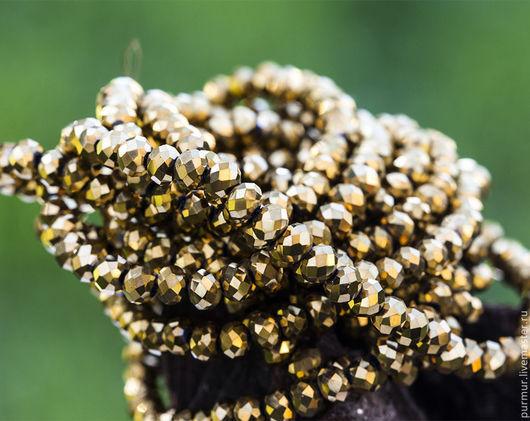 Для украшений ручной работы. Ярмарка Мастеров - ручная работа. Купить 1123_Золотые бусины 4 мм, Граненые, Золотистые кристаллы, Стеклянные.. Handmade.