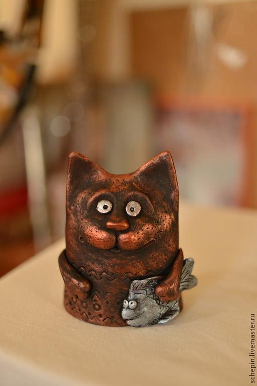 Статуэтки ручной работы. Ярмарка Мастеров - ручная работа. Купить Коты бронзовые,золотые,серебрянные.... Handmade. Котик, подарок боссу